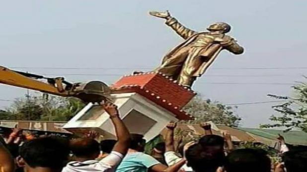 लेनिन की मूर्ति- त्रिपुरा: लेनिन की मूर्ती गिराई, कई जगहों पर हिंसा
